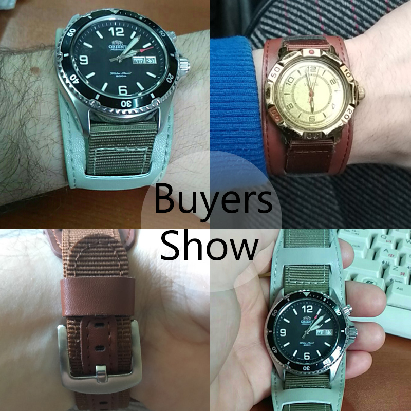 Leather and nylon strap watch band