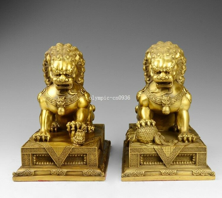 Pair 10 brass home fengshui door guard exorcise evil spirits food dog lionPair 10 brass home fengshui door guard exorcise evil spirits food dog lion