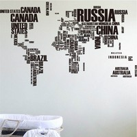 116*90cm Wall Stickers Poster Letter World Map Quote Removable Vinyl Art Decals Mural Home Living Room Office Decoration