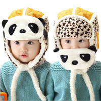 Hot Unisex Winter Baby Double Use Hat Cute Panda Crochet Knitted Caps Earflaps For Infant Boys