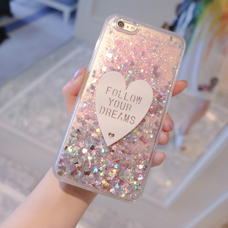 8 Plus Case For iPhone 8 Cases Luxury Love Glitter Liquid Transparent Soft TPU Silicone Cover For iPhone 7 Plus Phone Cover