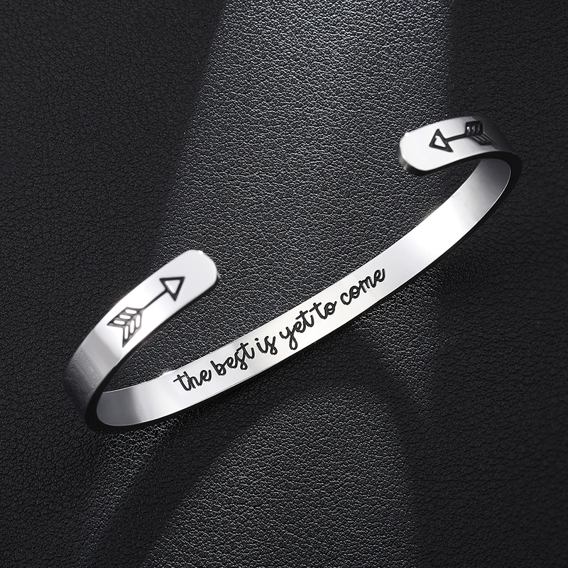 the best is yet to come Inspirational Quotes Mantra Bangle Bracelet Stainless Steel Jewelry For Friendship gift image