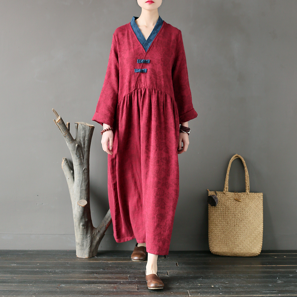 Johnature New Vintage V Neck Full Sleeve High Waist Robe Dresses 2019 Spring Women Solid Color