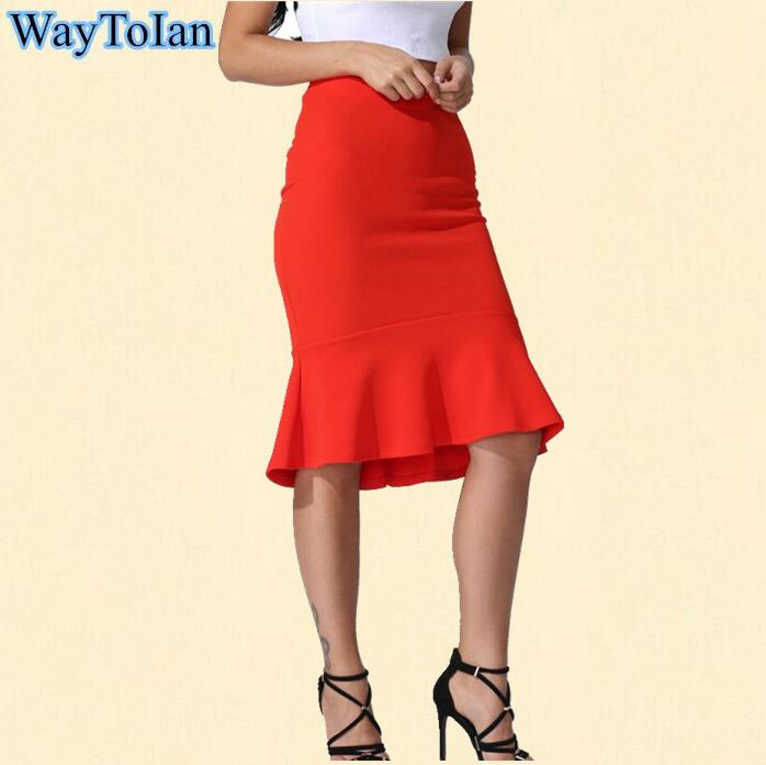 22aa8c200 WayToIan 2017 Spring Autumn Brand Casual High Waist Midi Pencil Fishtail  Skirts Women Female Flared Women's Long Skirt Plus Size-in Skirts from  Women's ...