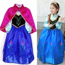 New Elsa Princess Girls Costume Party Fancy Snow Freeze Queen Cape Dress 100 Top Good