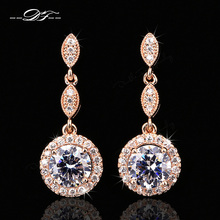 Micro Pave CZ Diamond Vintage Party Stud Earrings Rose Gold/Platinum Plated Wedding <font><b>Jewelry</b></font> For Women Gift DFE591M