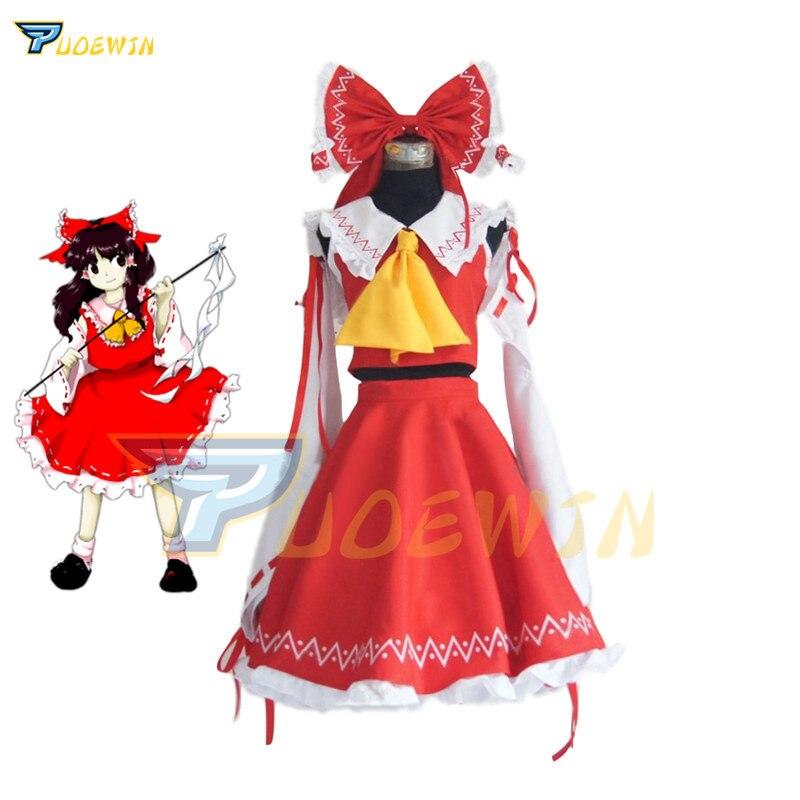 Anime Touhou Project Cosplay Costume Hakurei Reimu Reimu Hakurei Lolita Dress Halloween Costume Free Shipping