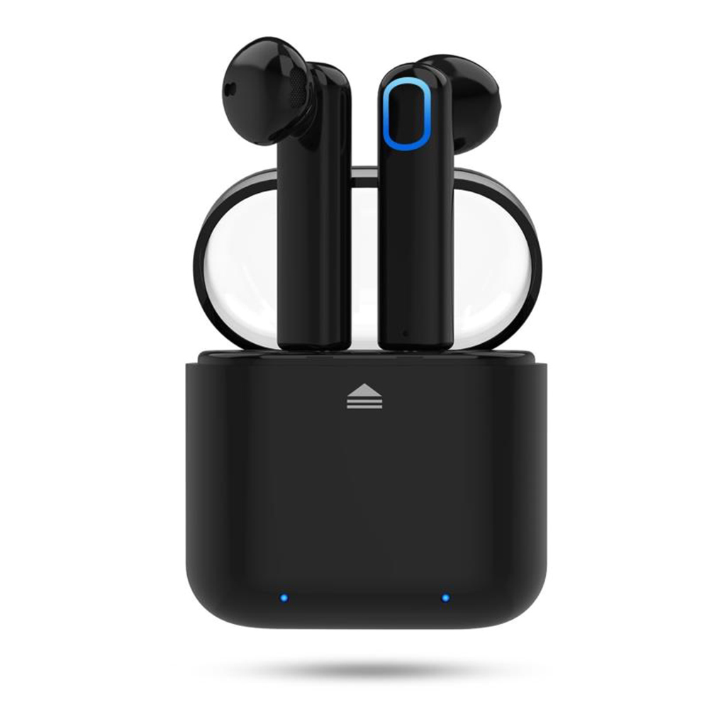 TWS BT 4.2 Wireless Bluetooth Earphone Headphones  Earbuds&Wireless Charging Box IPX4 Waterproof and Sweatproof Protection Headphones Mini In-Ear Black Hedsets