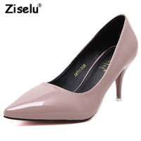 Ziselu Thin High Heel Pointed Toe Women Pumps Patent Leather Candy Colors Sweet Lady 2018 New