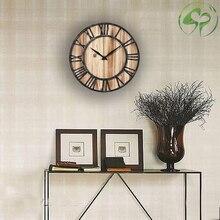 Wall Clock Creative Round Silent Wooden Wall Clock Decorative Clock for Living Room Kitchen Bathroom Bedroom