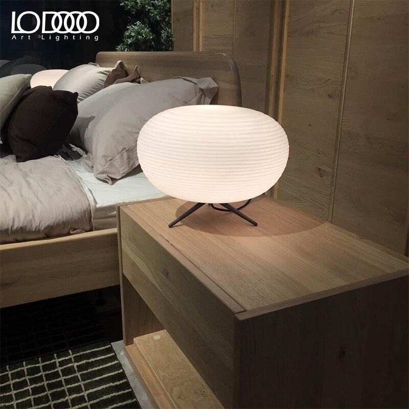 Lodooo E27 современная настольная лампа для Гостиная современные настольная лампа прикроватная лампа led, декоративный Стекло настольная лампа - 6