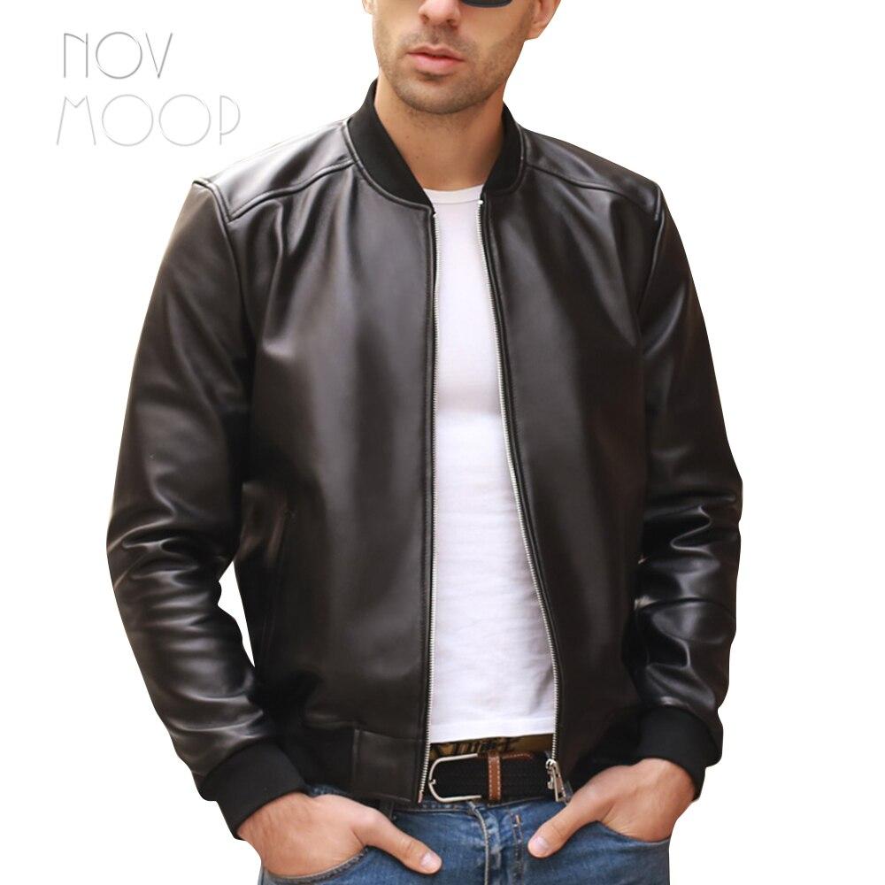 Nero degli uomini del cuoio genuino vera pelle di agnello moto biker bomber giacche cappotti jaqueta de couro deri ceket più il formato 5XL LT2065