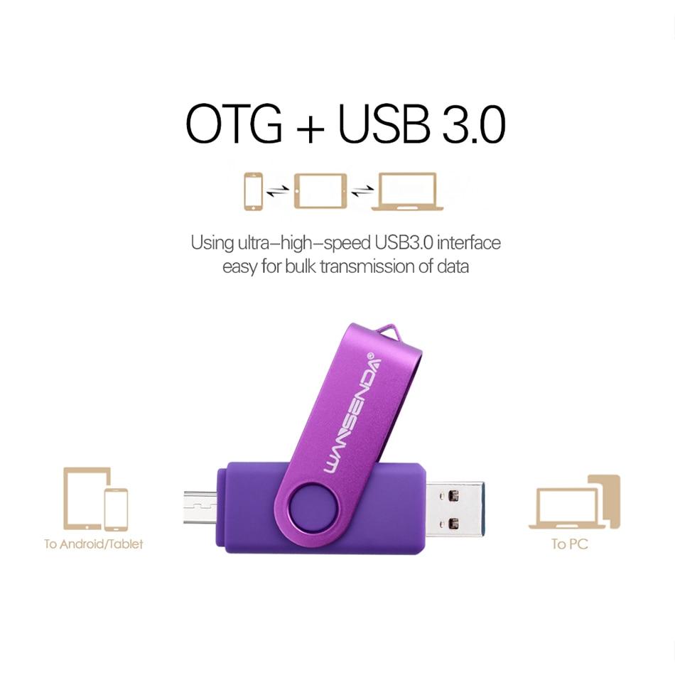New Usb 3.0 Wansenda OTG USB flash drive for SmartPhone/Tablet/PC 8GB 16GB 32GB 64GB 128GB 256GB Pendrive High speed pen drive 4