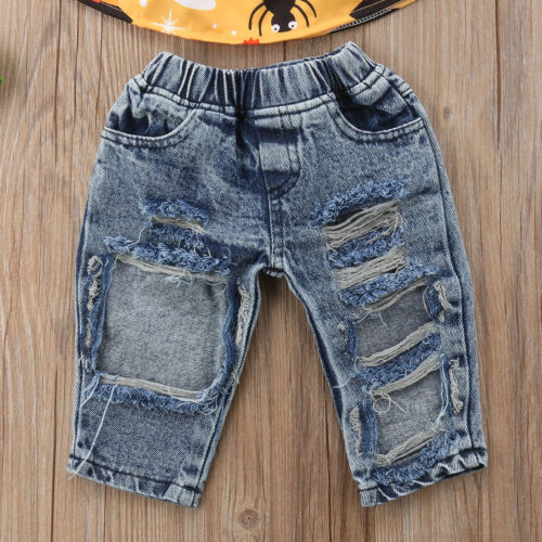 Halloween Cute Newborn Kid Baby Girls Off Shoulder Sleeveless Tops Denim Holes Pants Headband Outfit Clothes Set 2019 in Clothing Sets from Mother Kids