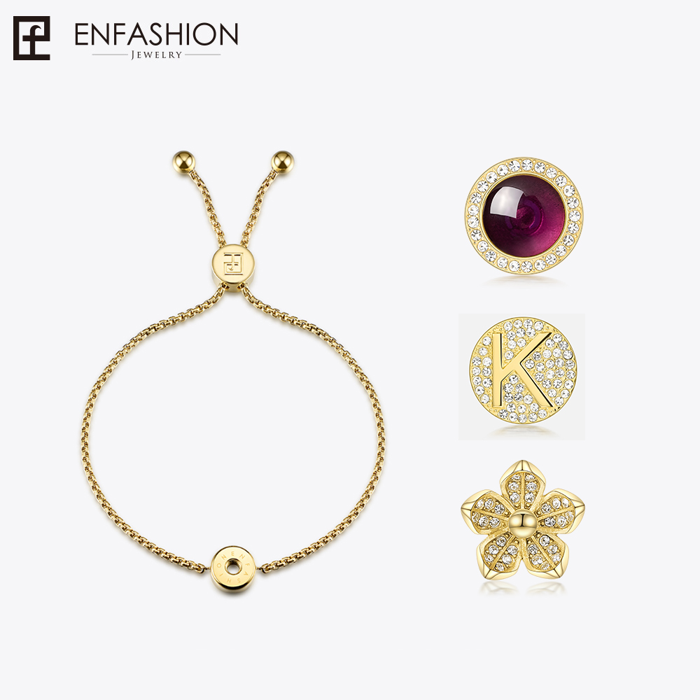 Enfashion Play Series Screw Charm Bracelets Rose Gold color Initial Letter Bracelet Chain Bracelet For Women DIY Jewelry 188004 cross and letter and anchor embellished multilayered charm bracelet for women