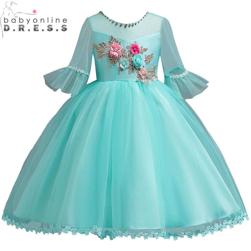 Vestido Comunion Lovely Applique Beaded Lace   Flower     Girl     Dresses   5 Colors Long Flare Sleeve First Communion   Dresses   For Wedding