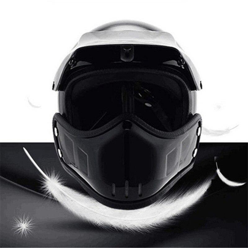 Motocross casco Maschera Staccabile Occhiali E la Bocca Filtro Perfetto per Aprire Viso Motociclo Casco Mezzo Vintage Caschi - 2