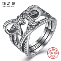Shipinwei New Design 925 Sterling Silver Bow Knot Female Finger Rings DELICATE SENTIMENTS RING For Women