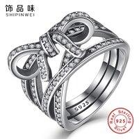 Shipinwei Nuevo Diseño Plata de Ley 925 Del Nudo Del Arco Femenino Dedo ANILLO para Las Mujeres del banquete de boda Joyería Anillos DELICADOS SENTIMIENTOS