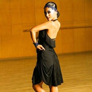 Image 3 - สีดำชุดเต้นรำละตินผู้หญิงคุณภาพสูง Fringe Salsa Samba Rumba เต้นรำสวมใส่แขนกุด Ballroom Dancer เสื้อผ้า DC1049
