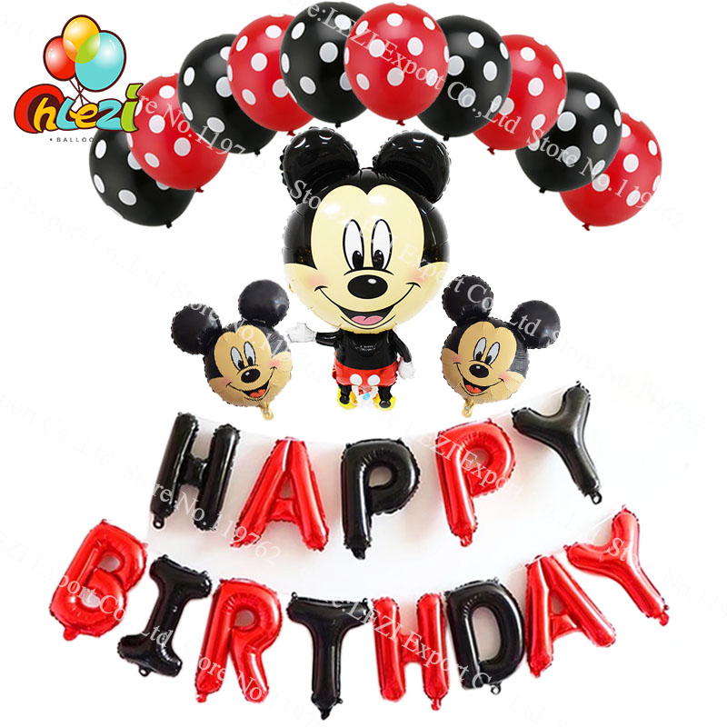 Standing Mickey Minnie Happy birthday foil balloon Hanging letter Birthday Party Decorations supplies Red black alphabet Globos