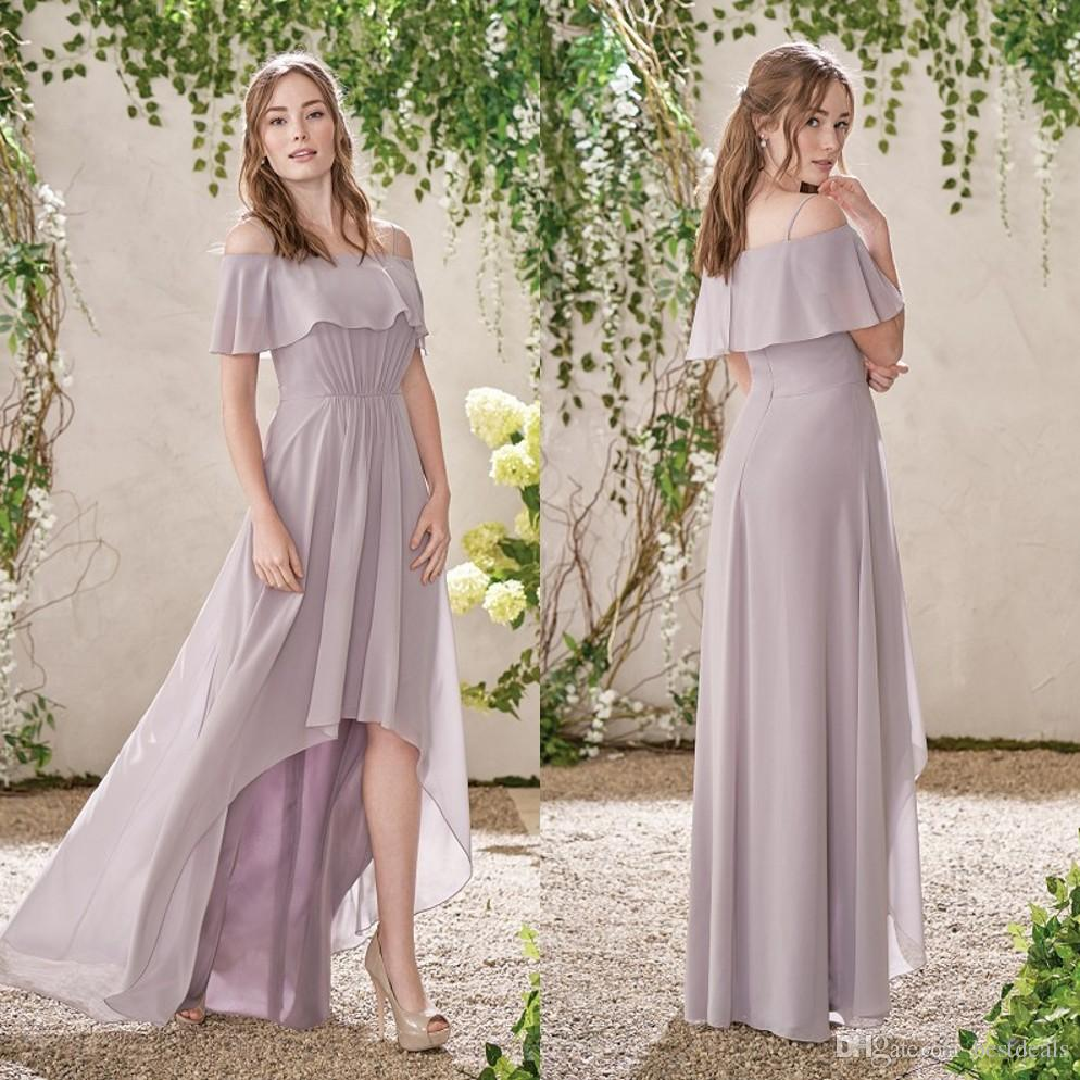 Bridesmaid beach wedding dresses promotion shop for promotional new arrival 2017 purple hi lo country bridesmaid dresses chiffon beach wedding gust dress maid of honor gowns b109 ombrellifo Choice Image