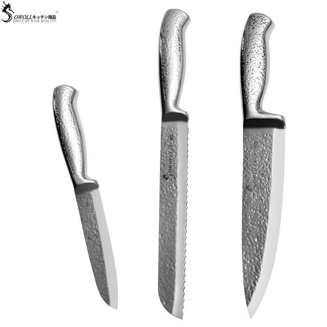 Surprising Sowoll Brand High End Kitchen Knife Set Hammer Vein Blade Stainless Steel Knife 8 Chef 8 Bread 5 5 Santoku Cooking Knife In Kitchen Knives From Download Free Architecture Designs Scobabritishbridgeorg