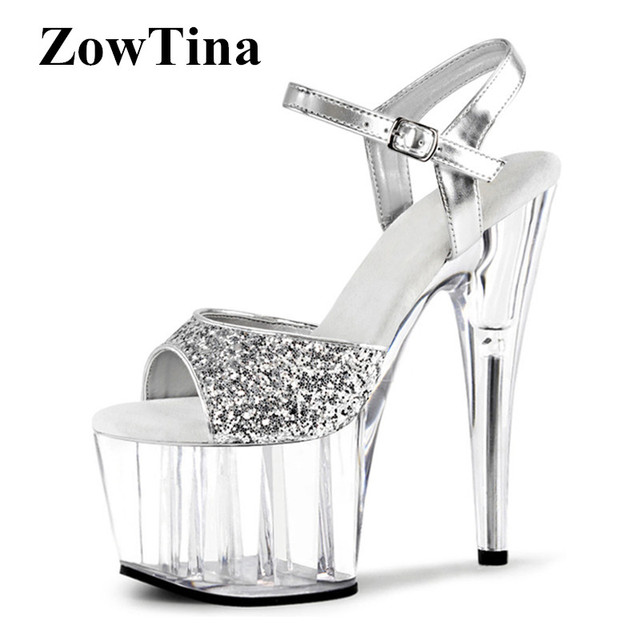 Women Silver Sequins Sandals 7cm Platform Beach Sandalias Mujer Ankle Strap  17cm High Heels Prom Party Ladies Shoes Zapatillas ce339dc1cff3