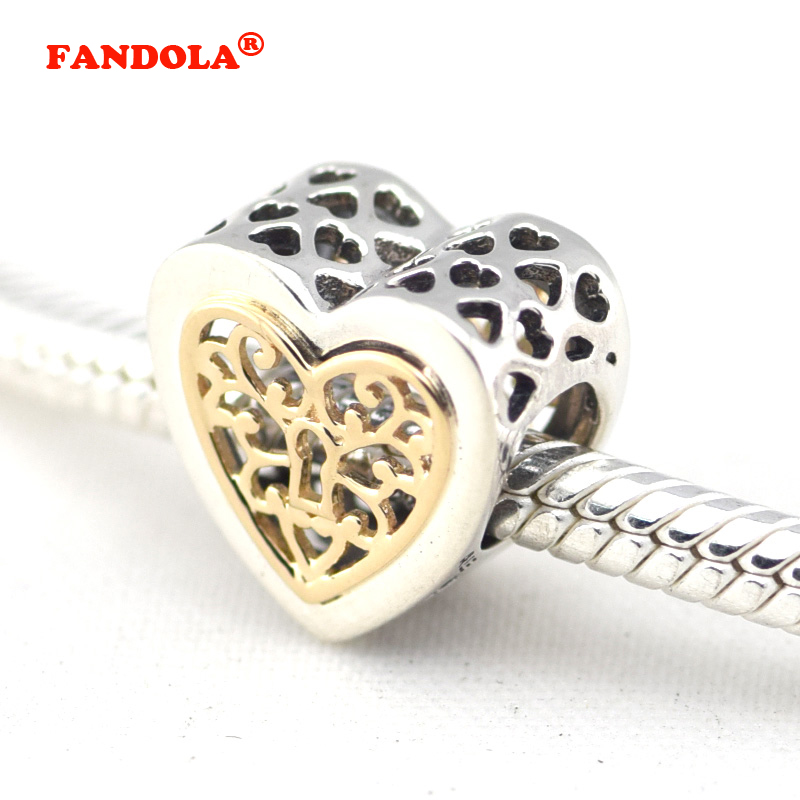 Fits European Charms Bracelet 925 Sterling Silver Beads Locked Hearts Women Silver Charm DIY Making Jewelry FL262K