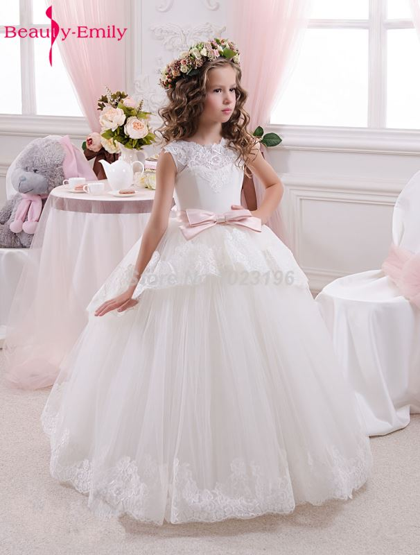 White Ivory   Flower     Girl     Dresses   Ball Gown Pink Belt Bow Lace Wedding Party   Girl   Prom   Dresses