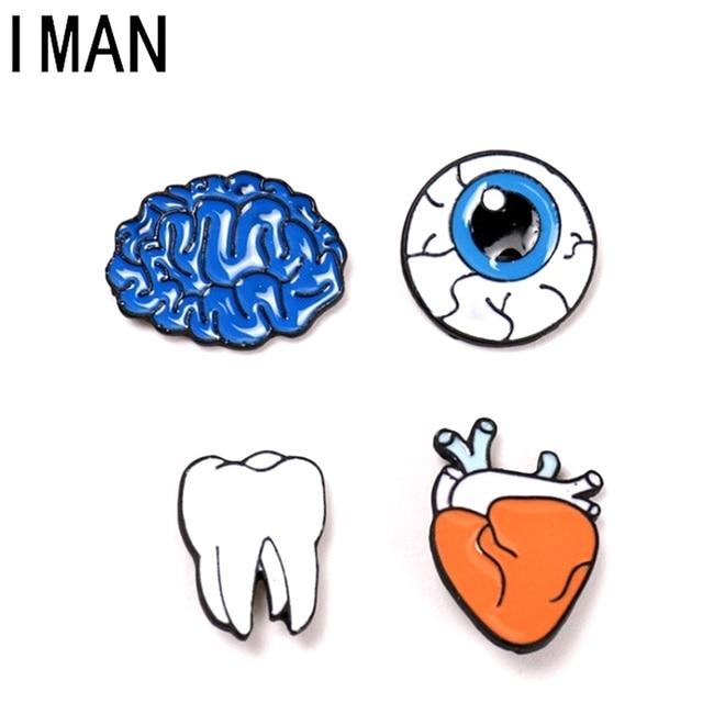 Fashion Cute Cartoon Brooch Pins The Human Organs Medical Brain Eye Heart Enamel  Lapel Pins Badge