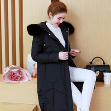 2017Winter Warm New Arrival Plus Size Women Clothing Slim Hooded Long Parka Female Black Jacket Fur