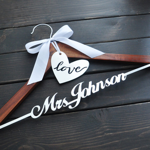 Image 2 - Personalized Wedding Hanger Bride Bridesmaid Groom Name Hanger With Bow Wedding Gifts Bridal Dress Hanger 3 Style