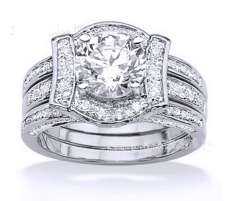 Victoria Wieck Antique classic TAAA CZ Zirconia Simulated stones 14KT White Gold GF Wedding Band Ring Set Sz 5-11 Free shipping