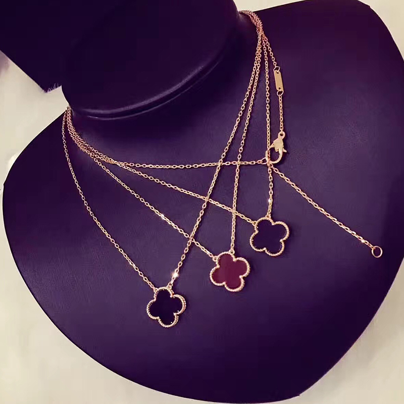 Brand Pure 925 Sterling Silver Jewelry For Women Four Leaf Clover Neckalce Flower Pendant Luck Clover Sakura Party Necklace 15MM