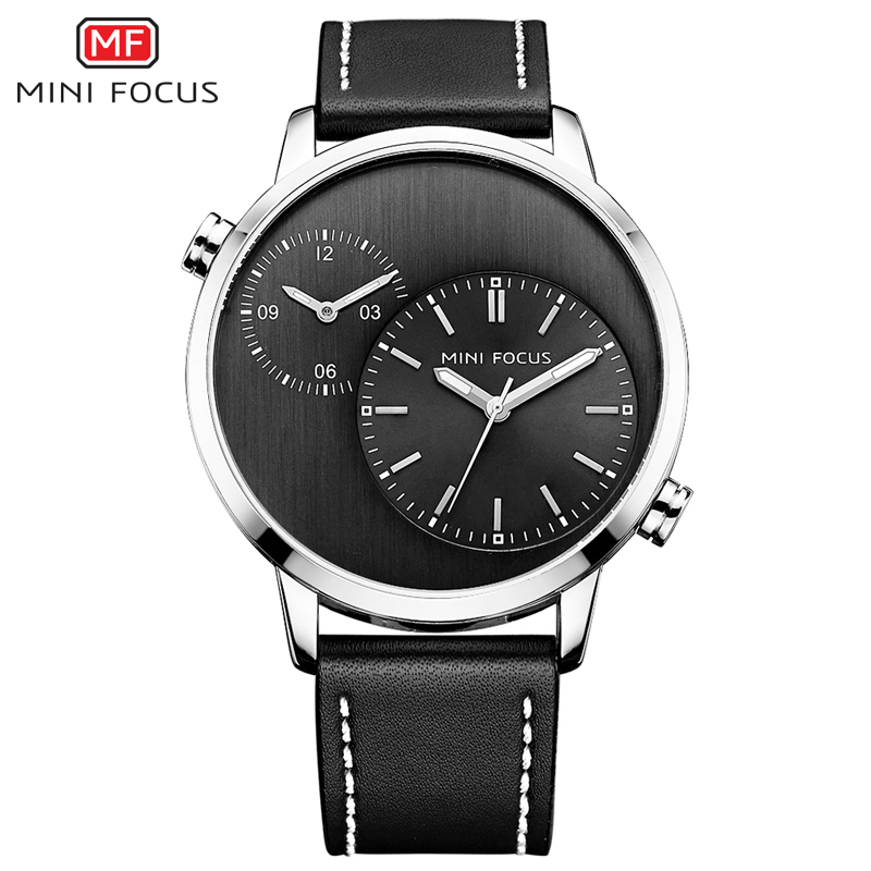где купить MINI FOCUS Dual Time Sports Watches Men Quartz Watch Top Brand Luxury Clock Male Leather Military Wrist Watch relogio masculino по лучшей цене