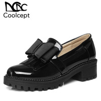 Coolcept Drop Ship Women High Heel Shoes Bowknot Round Toe Patent Leather Thick Heel Pumps Office Ladies Footwear Size 34 43