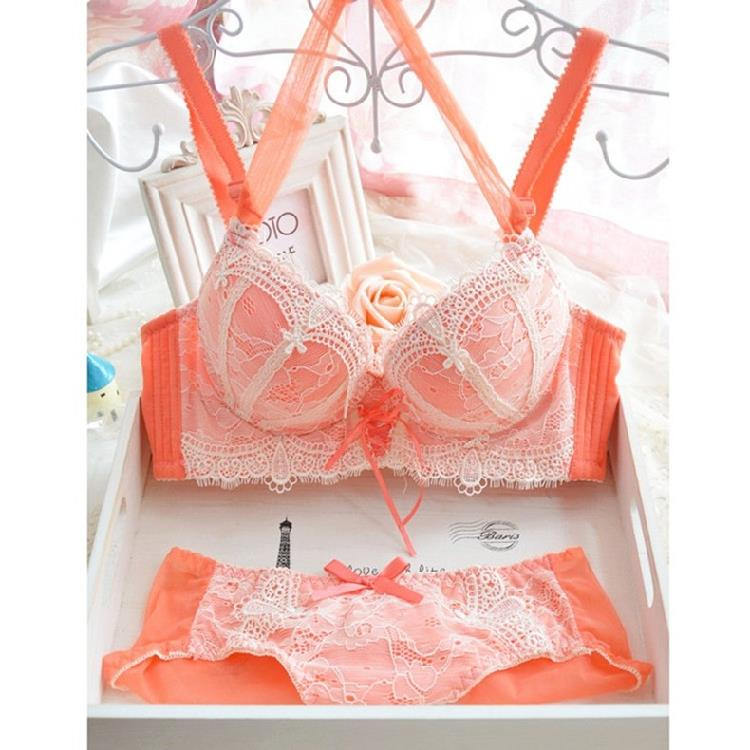 Hanging Neck Lace Bra Set Flowers Straps Adjustable 4-breasted Push Up Sexy Women Underwear Bra Set Pink White