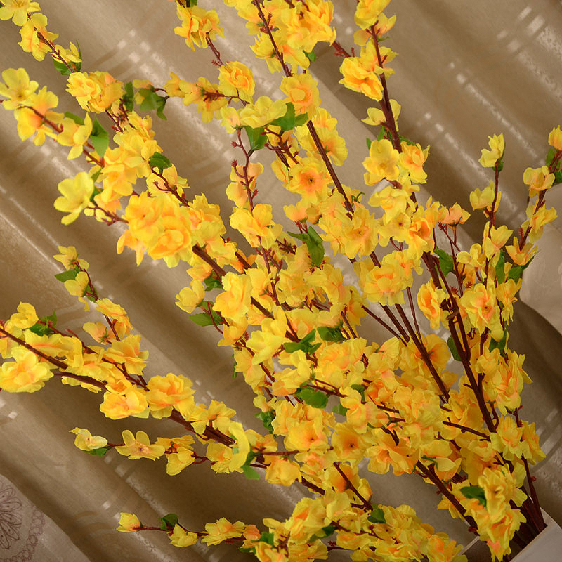 Artificial Cherry Spring Plum Peach Blossom Branch Silk Flower Cherry Tree DIY Wedding Party Decoration