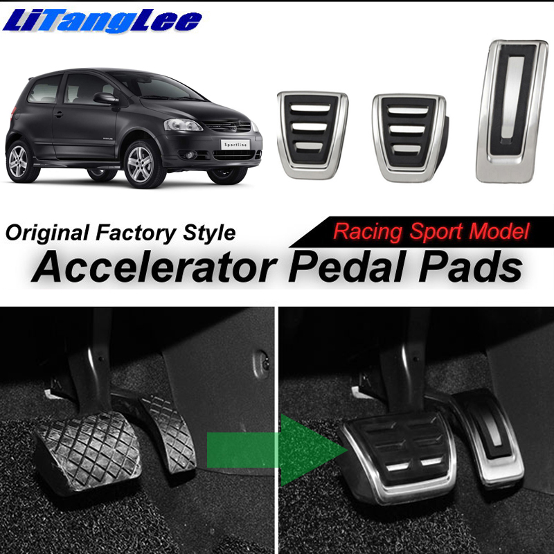 LitangLee Car Accelerator Pedal Pad Cover Foot Throttle Pedal Cover For Volkswagen VW Fox 5Z Lupo Suran SpaceFox SpaceCross MT litanglee car accelerator pedal pad cover racing sport for mini cooper clubman r55 f54 2007 onwork at foot throttle pedal cover