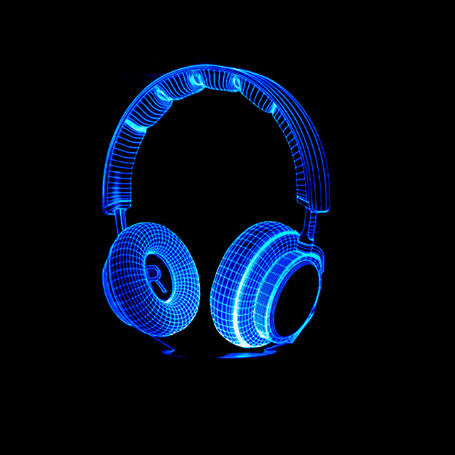 Boy Bedroom Decor Best Gift 3D Colorful DJ Headphone Night Light Studio Music Monitor Headset Hifi