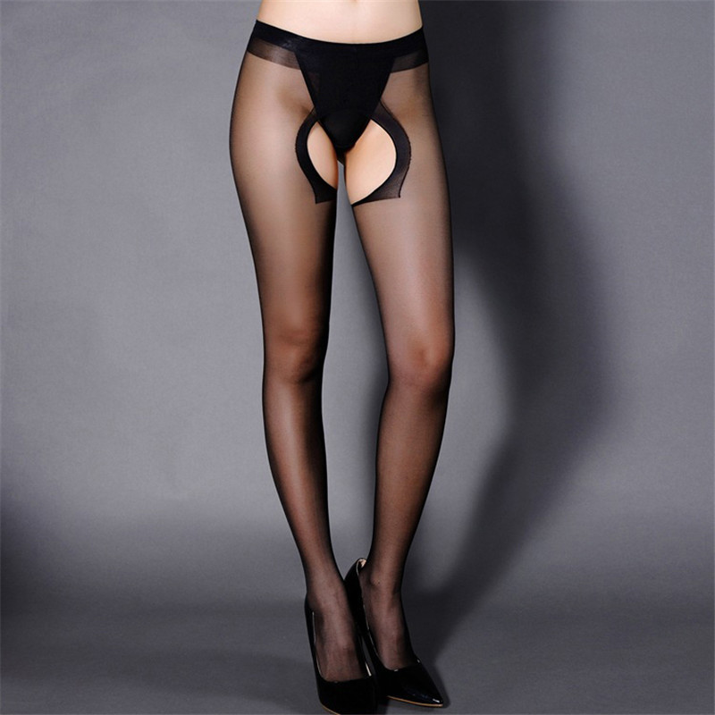 Women Sexy Pantyhose Stockings Tights Women Sexy Black Nylon Pantyhose Open Crotch Erotic Stockings Transparent Hosiery Stocking title=