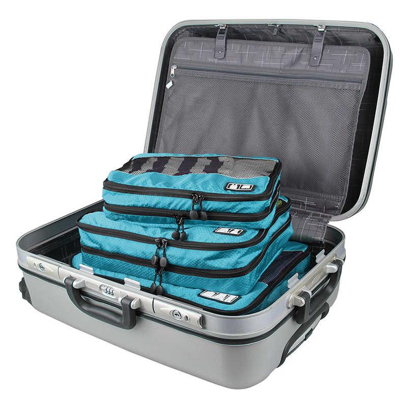 Saco De Armazenamento BAGSMART 3 Pcs Zíperes Dupla Camada Cubo Embalagem Para Roupas Organizador Bagagem de Viagem Duffle Saco Da Bagagem Para A Camisa