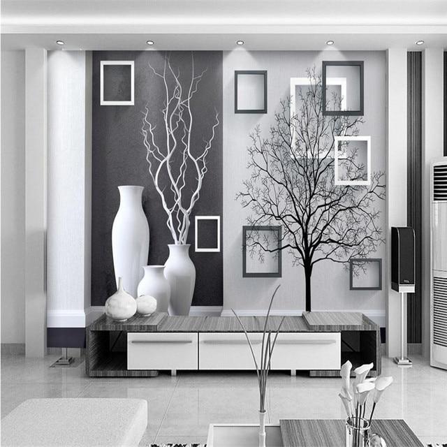 Großes Wandgemälde Benutzerdefinierte Größe Hintergrund Fotografie Grau  Schwarz Vase Baum Kunst Badezimmer Wand Tapete Für Wohnzimmer