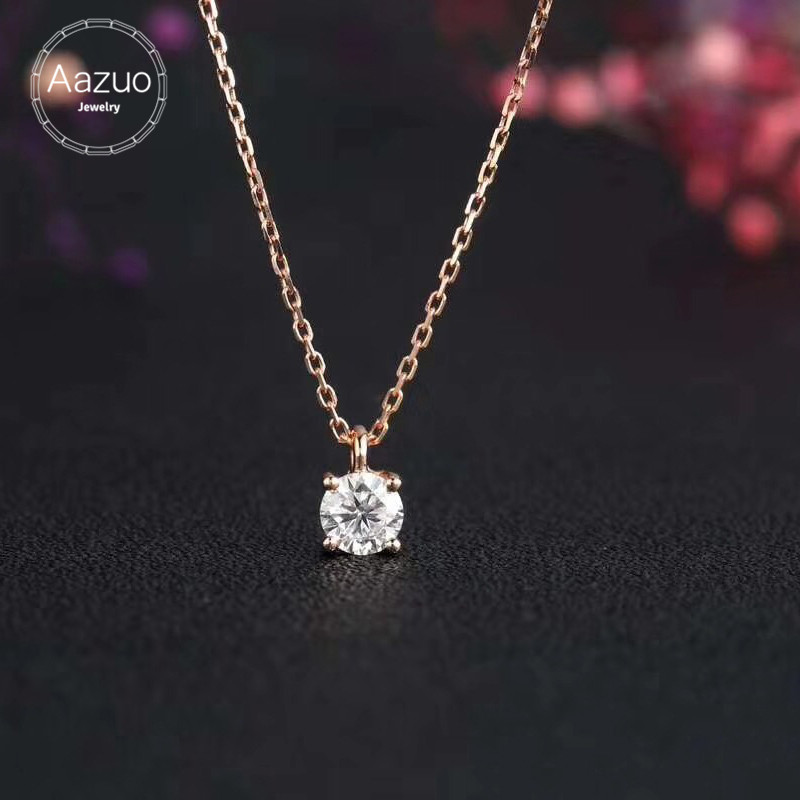 Aazuo 18K Rose Gold Simple Four Claw Diamond Free Pendent Necklace gifted for Women Girls Engagement