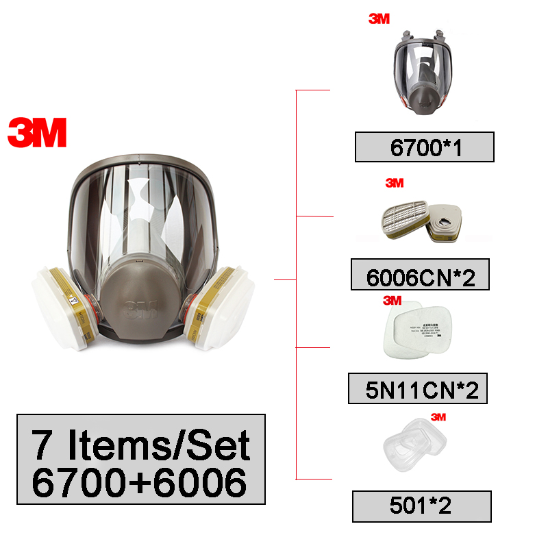 3M 6700 Full Mask Small Size with 6006 Acid Gas Organic Vapor Cartridge with 5N11 Filter