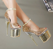 18cm high with fine with the fish head shoes Nightclubs T Taiwan gold sequined wedding shoes Rivet shoes catwalk