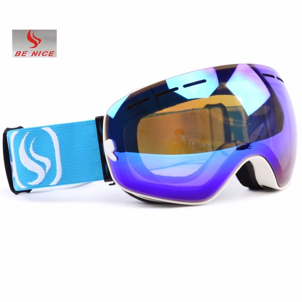 Benice Brand Lyžařské brýle Snowboardové brýle Double Lens Anti Fog UV kulové profesionální lyžařské brýle Muži Mnohobarevné sněhové brýle Masky