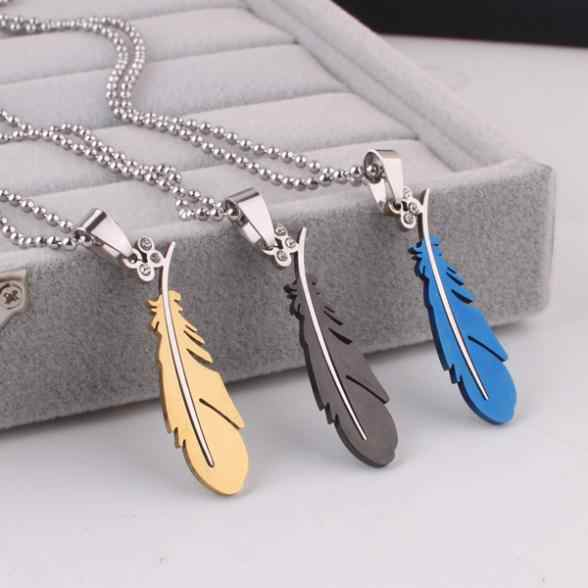 free shipping Blue gold black feather pendant necklaces bead chain men 316L Stainless Steel necklace wholesale