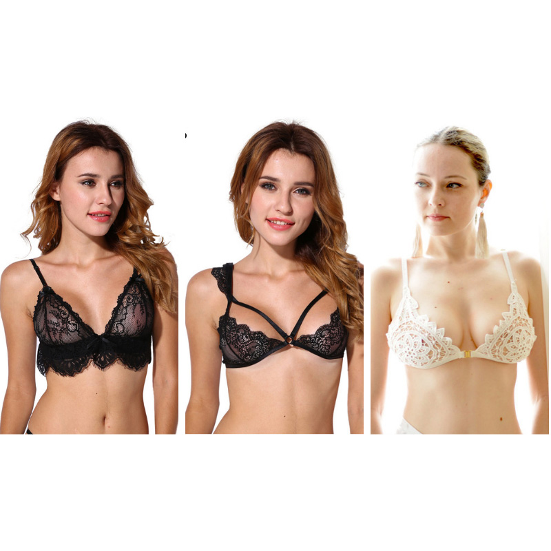 d6790887981 3pc Lace Unlined Bralette Sexy Bra Fashion Cutout Brassiere Hot Underwear  Intimate Women Lingerie
